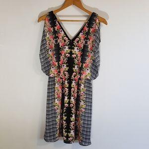 Candie's black plaid & pink floral ladder dress